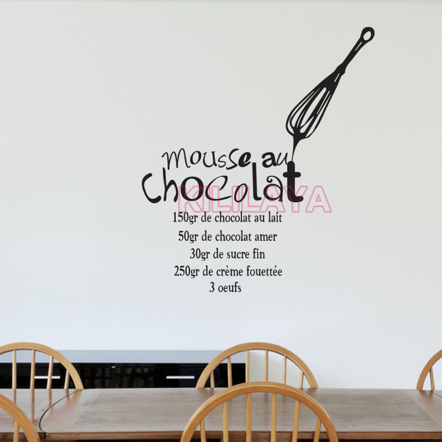 Stickers french cuisine vinyl wall sticker decal mousse au chocolate mural tile wall art kitchen wallpaper