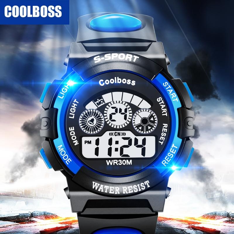 COOLBOSS Men Digital LED Sports Watches swim fashion casual Military Wristwatches PU strap relogio masculino Luxury