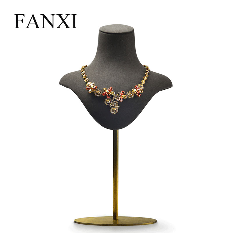 FANXI New PU Leather Necklace Bust Stand Dark Grey Pendant Display Holder with Metal Shelf Mannequin for Shop Counter ExhibitorFANXI New PU Leather Necklace Bust Stand Dark Grey Pendant Display Holder with Metal Shelf Mannequin for Shop Counter Exhibitor
