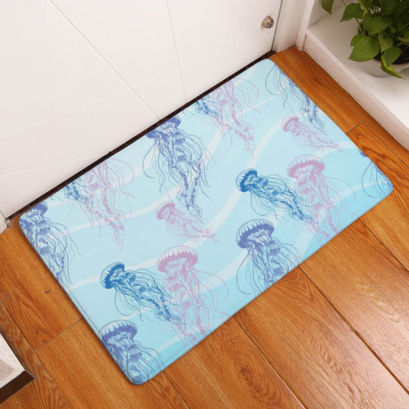 Coral Printing Flannel Carpet Hippocampus Pattern Mat For Living Room  40x60cm Door mat Rectangle Tapete e7cf9a2eb6