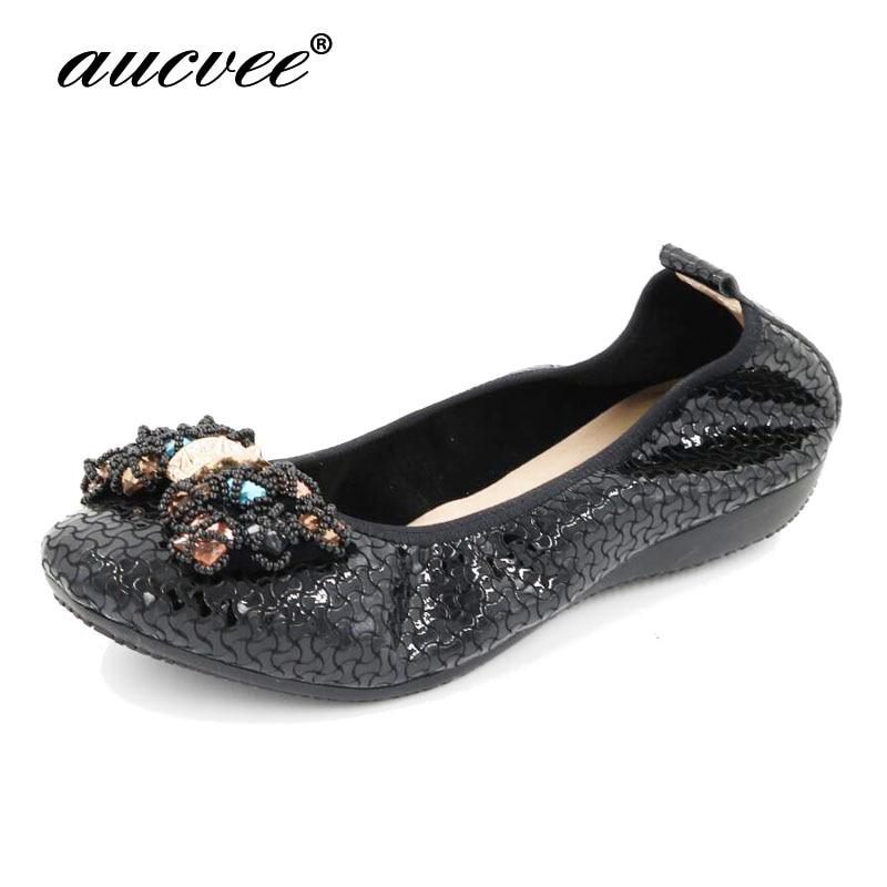 AUCVEE mode 2019 chaussures plates femmes Ballet princesse chaussures décontracté casual cristal bateau chaussures strass femmes appartements grande taille RX155