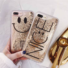 Cute Smile Bling Gold foil Phone Case For Coque iphone X XS Max XR S Dynamic Liquid Cover iPhone 6 6s 7 8 Plus Cases