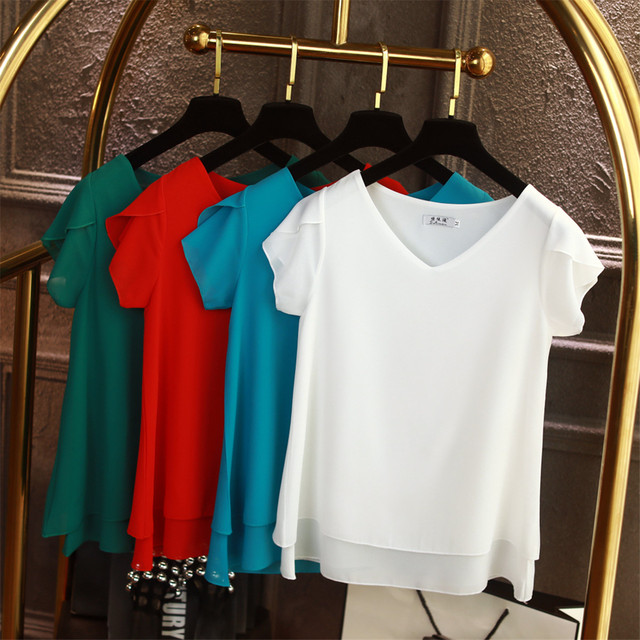 b9f08452c 2019 Mulheres Blusa de Verão Manga Curta Chiffon Shirt Ocasional Das  Senhoras V Pescoço Blusas Femininas Roupas Plus Size Solto 6XL