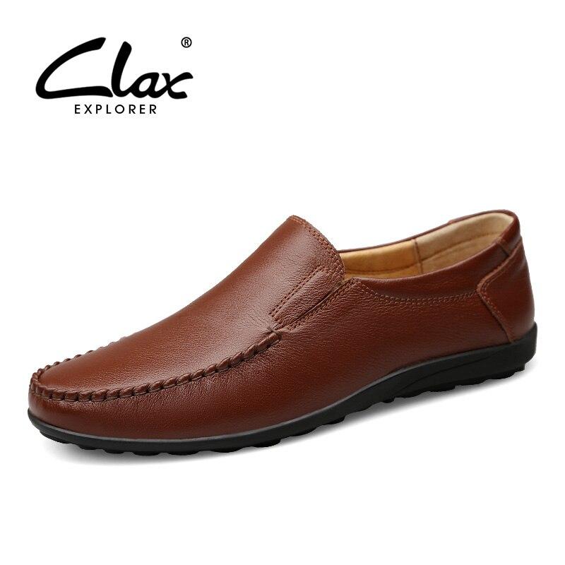 0eb30aaf79ec78 Habillée En Sur Mocassins Gros brown Chaussure Souple Clax Glisser Black  Cuir Taille Printemps Homme Bateau Automne Véritable Chaussures ECqwxtp