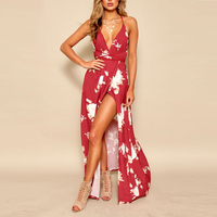 Lily Rosie Girl Red Floral Print Sexy V Neck Women Dresses 2018 Summer Backless Boho Dress