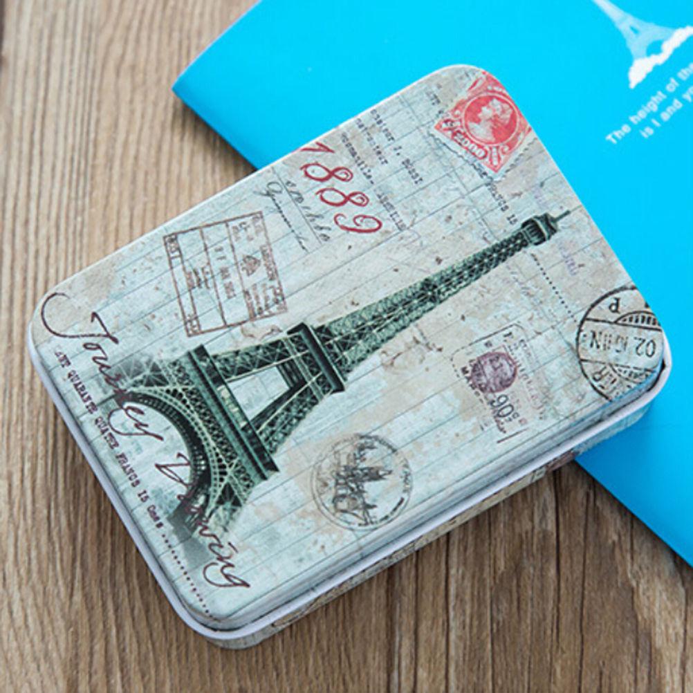 Peerless Mini Tin Desk Organizer Eiffel Tower Printing  Vintage Metal Box Case Home Storage Stationery Holder