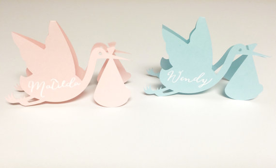 Stork Baby Shower Placecards Kids Birthday Baptism Party Escort Card