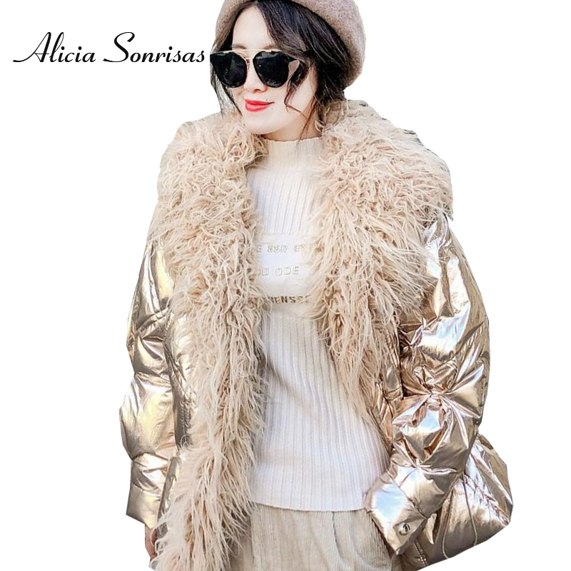 Women's Winter Silver Down Cotton Jacket Glossy New 2018 Golden Big Fur Collar Thick Shiny Long Pink Blue Warm   Parkas   AS1812