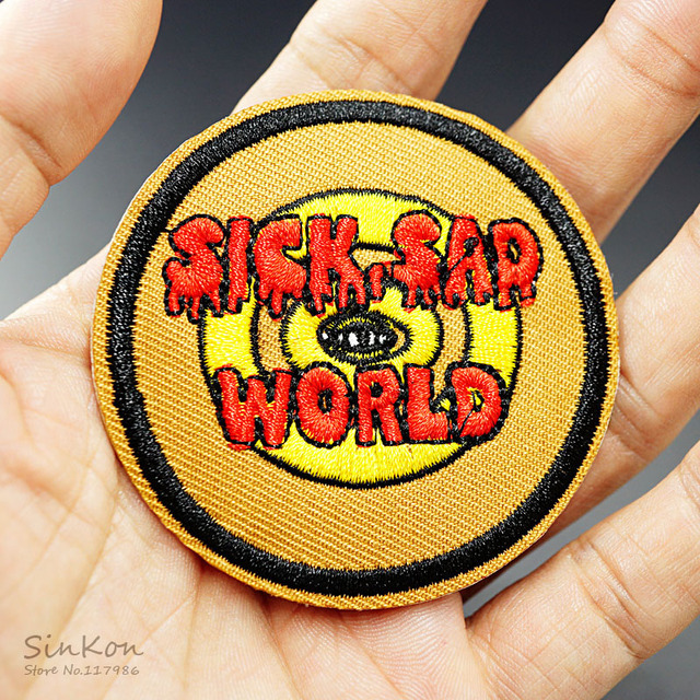 SICK SAD WORLD (Size:6.2X6.2cm) Iron On Patch Sewing On Embroidered Applique Sewing Clothes Stickers Garment Apparel Accessories