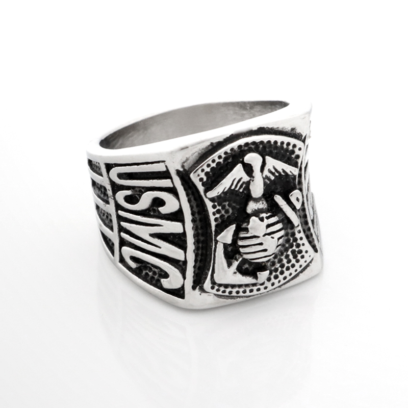 High Quality Heavy <font><b>USMC</b></font> Motorcycles Biker Anchor <font><b>Ring</b></font> 316L Stainless Steel Men Boys Hot Selling Cool Man Silver Eagle Biker <font><b>Ring</b></font> image