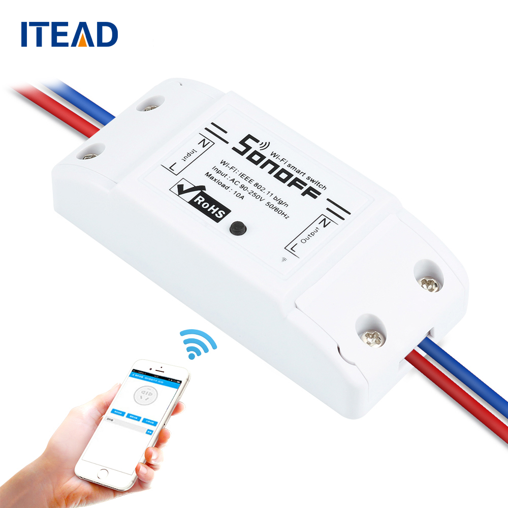 все цены на ITEAD Sonoff Wireless Wifi Smart Switch APP Control Home Automation Module Timer  Universal Switch Light Bulb Electrical Devices онлайн