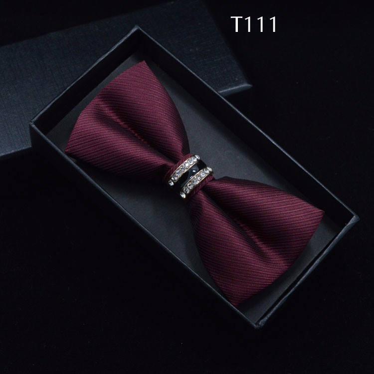 Tuxedo Metal Crystal Wedding Bow Tie Men Women Butterfly Knot Cravat Black Purple Blue Jujube Red Groom Party Banquet Meet Club 10