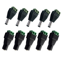 купить 5pcs Female + 5pcs Male Power adapter supply Connector 5.5x2.1 mm jack DC Plug for 3528 5050 2835 Led tape light strip Connector по цене 152.41 рублей