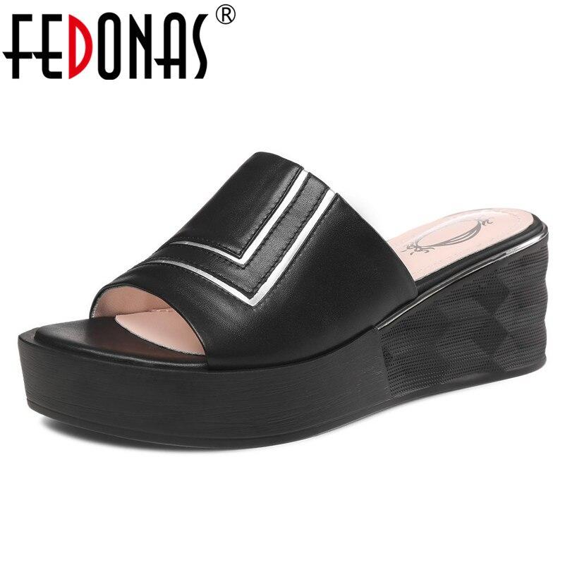 FEDONAS en cuir véritable femmes sandales chaussures décontractées nouvelle mode doux talons hauts fête d'été boîte de nuit chaussures femme chaussures de base-in Sandales femme from Chaussures    1