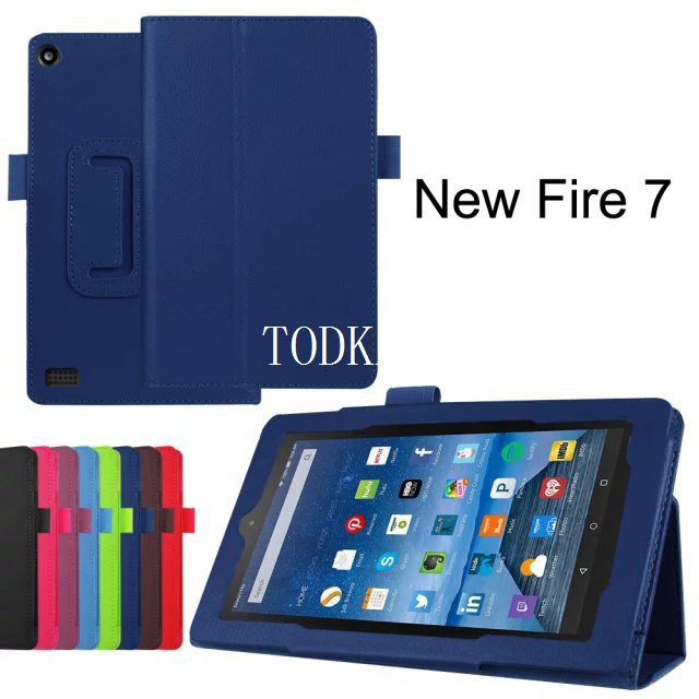 For New Amazon Kindle Fire HD 7 HD7 2015 Generation Tablet Case Litchi stand PU Leather Case Flip Cover +stylus