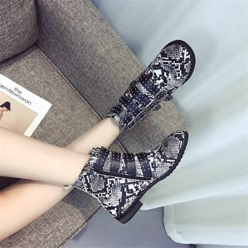 COOTELILI Yılan Derisi yarım çizmeler Kadın Toka rahat ayakkabılar Kadın Deri siyah çizmeler Kadın Chelsea Botas Mujer Artı Boyutu 43