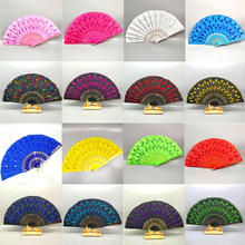 Chinese Style Embroidery Carved Hand Fan Plastic Bone Sequins Stage Props Dance Accessories Home Decoration 1PC
