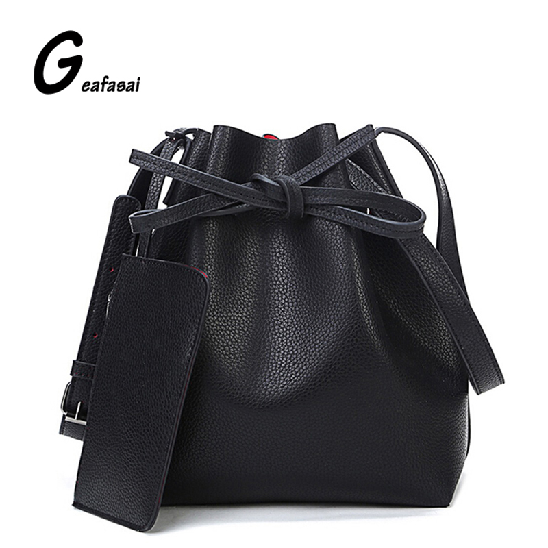 good PU leather women shoulder bag ladies red blue black large crossbody bucket bags for lady
