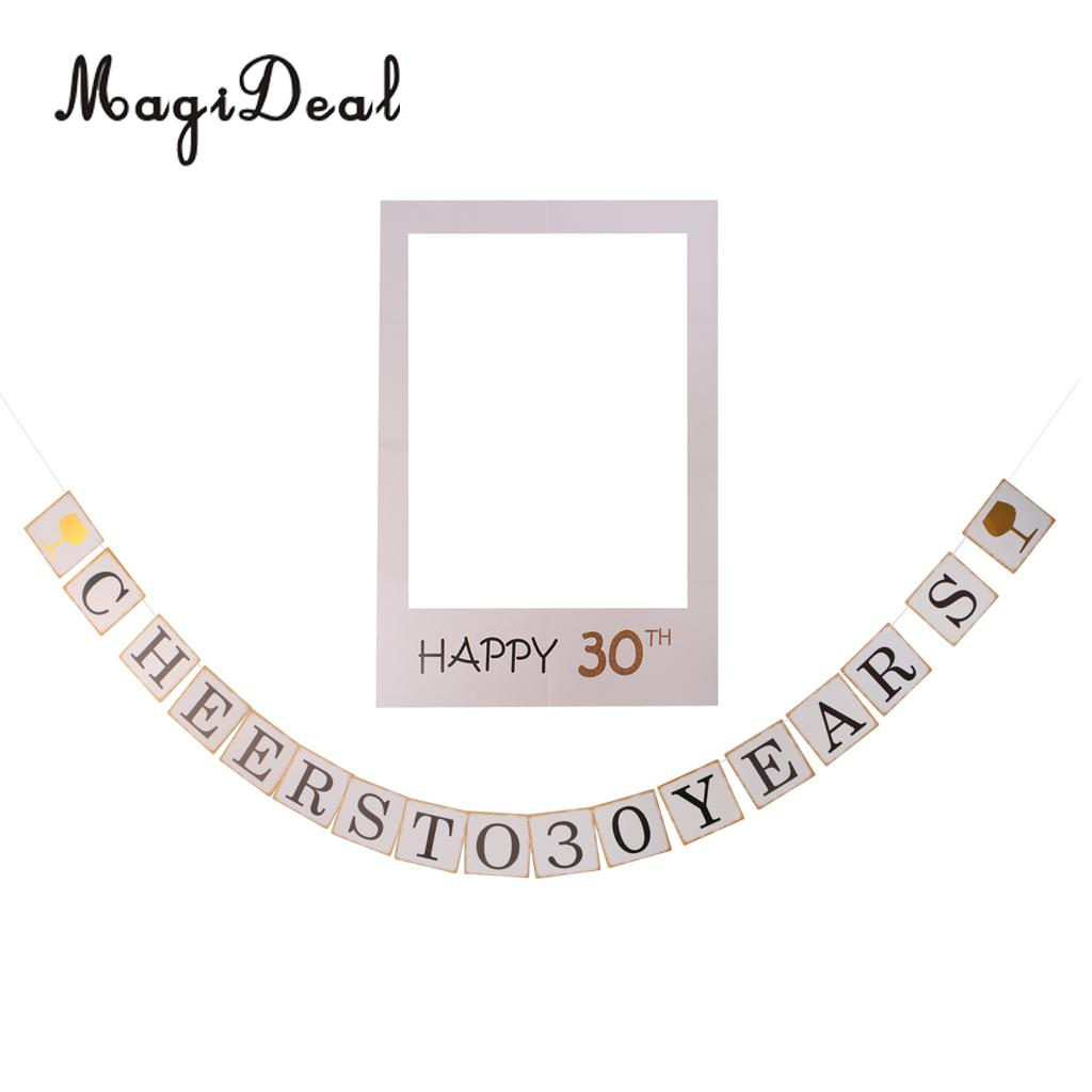 Funny Dirty 30 Banner+Photo Booth Prop Selfie Frame Novelty Birthday ...