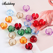 Acrylic Charms Beads Four Petal Flower Transparent Floral Receptacle Accessories For Jewelry Making Handmade Needlework Ornament