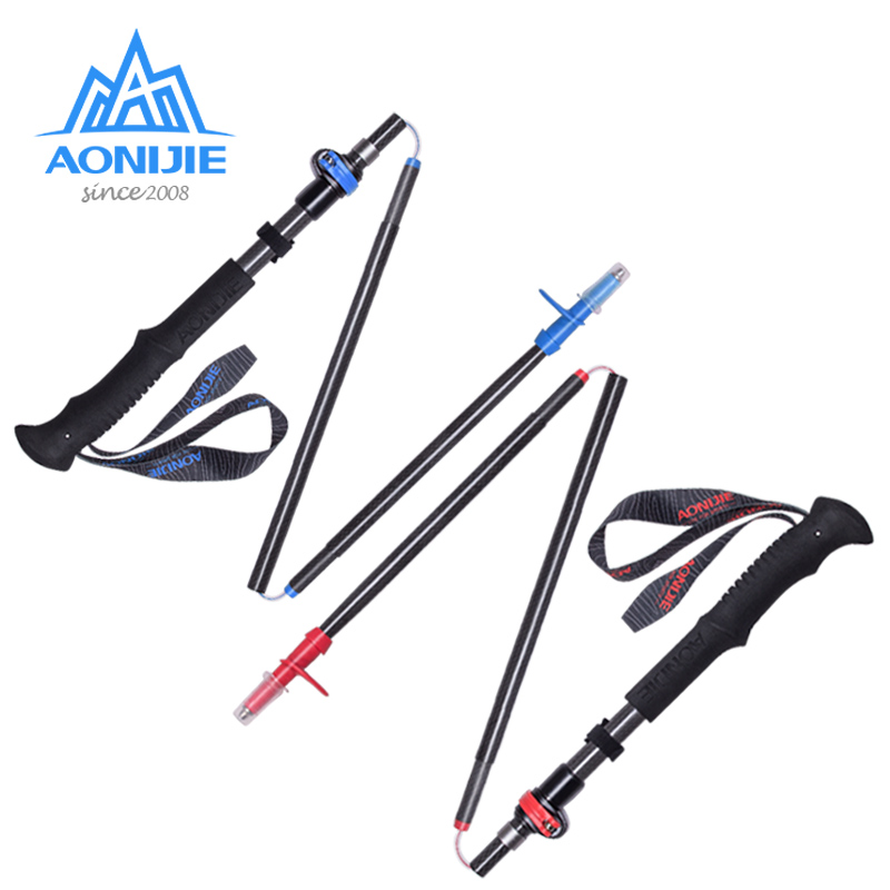 AONIJIE Carbon Fiber Adjustable Folding Ultralight Trekking Poles Hiking Pole Walking Running Stick 5 Sections