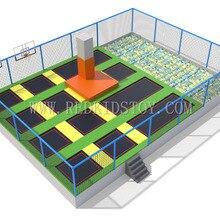Супер качество большой батут парк одобренный CE крытый батут для взрослых и детей HZ-LG010