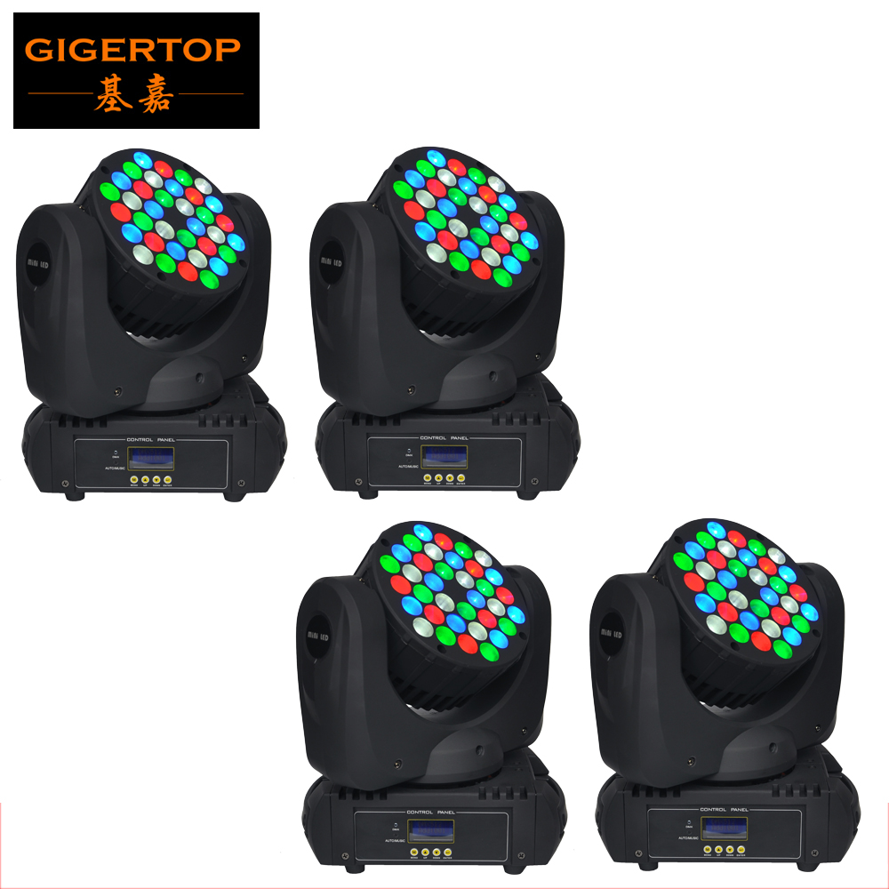 Freeshipping 4 Pack 36x5W American CREE Led Moving Head Beam Light RGBW Color Mini Size Fan Cooling DMX 15 Channels 200W CE ROHS