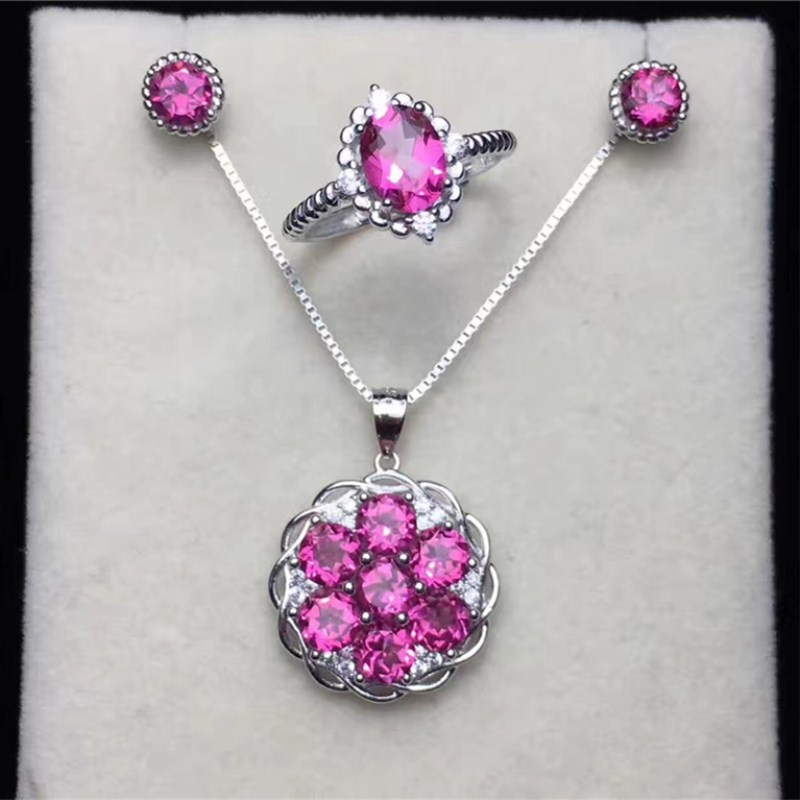 Natural Gemstone Jewelry Sets For Women Fine Jewelry 925 Silver Pink Topaz Ring Necklace Pendants Stud Earrings Bijoux CCS001-3