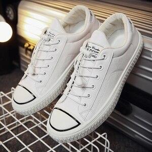 Image 5 - YTracyGold/Модная Мужская Повседневная обувь; кроссовки из искусственной кожи; Мужская Вулканизированная обувь на плоской подошве; Уличная обувь; Zapatos De Hombre; Цвет Черный; Zapatillas