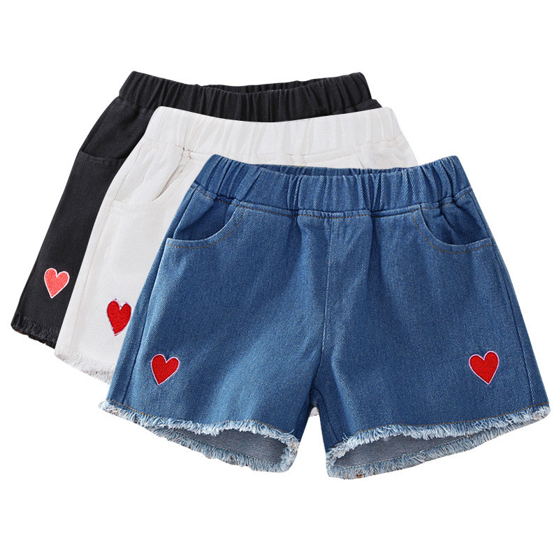 Denim   Shorts   for Girls Cotton Childre's   Shorts   Strawberry Embroidery Baby Girl   Shorts   Summer Baby Girl Clothes for 3-15Years