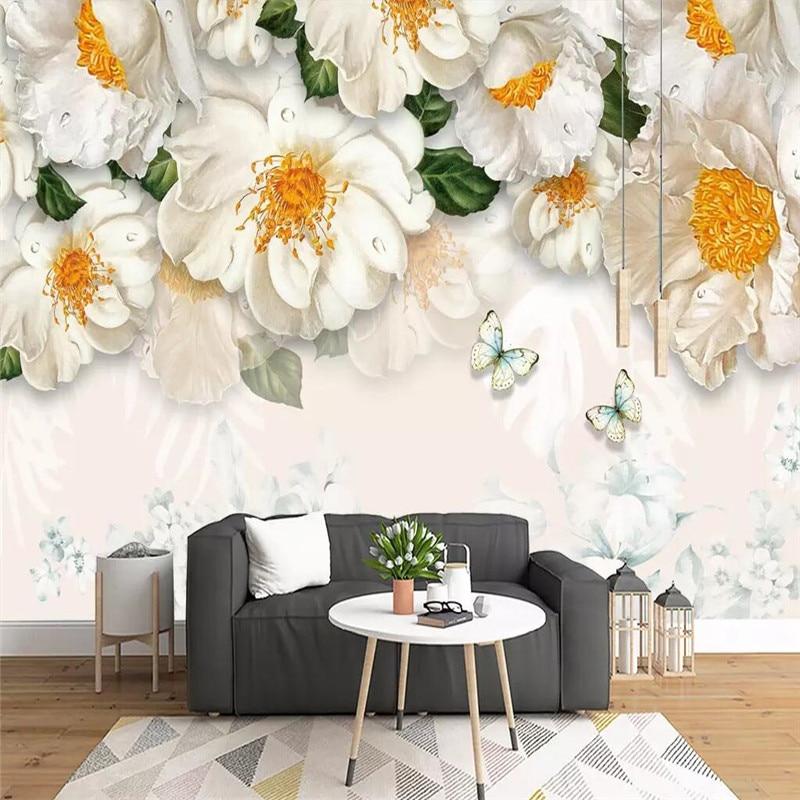 Modern minimalist fresh hand-painted floral sofa wall professional production wallpaper mural custom photo