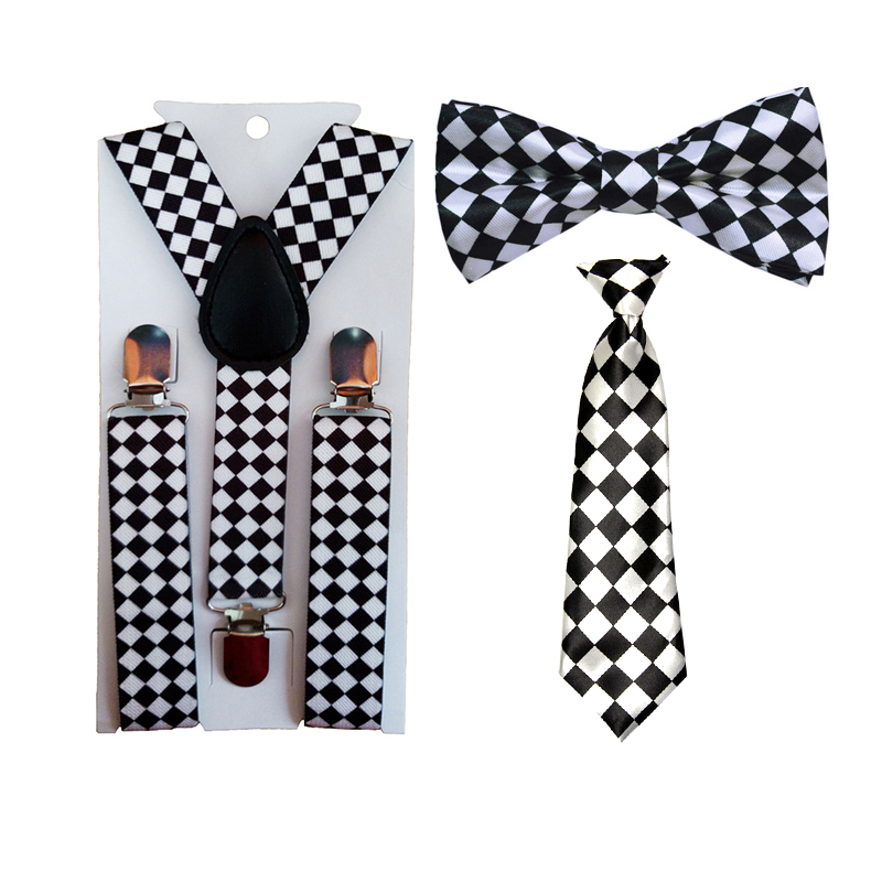 Fashion Children's Boy's Square Diamond Suspender Bowties Bow Ties Adjustable Party Accessories HHtr0004a01