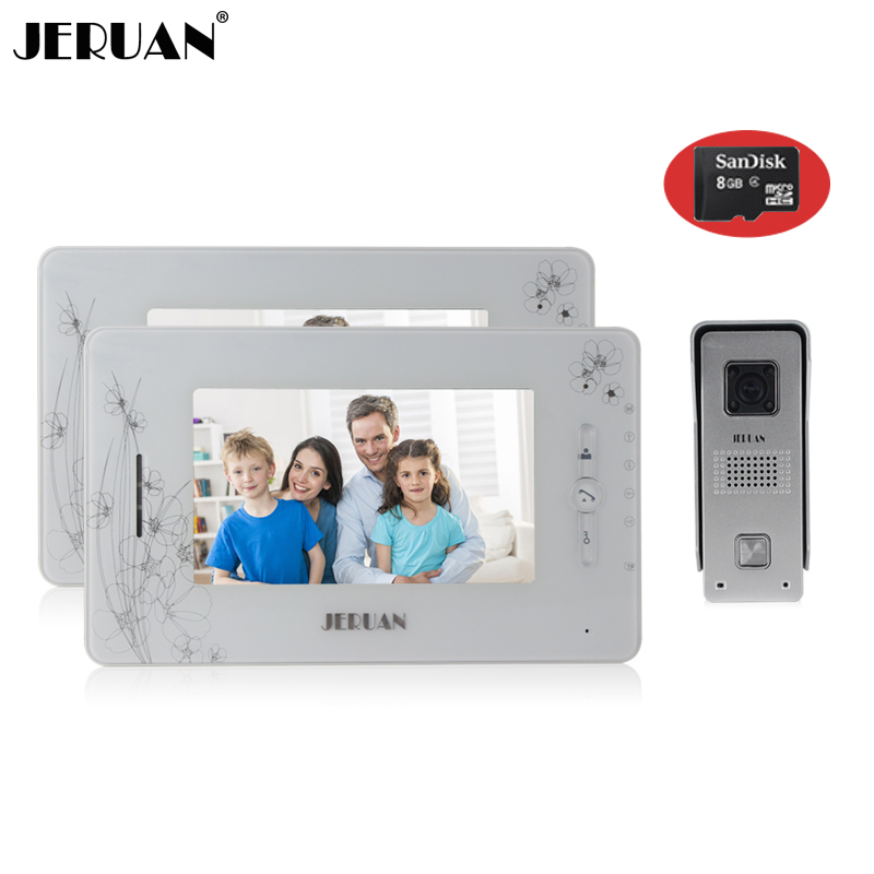 JERUAN New Doorbell video recording photo taking doorphone Speaker intercom 7 inch  video door phone intercom system+8GB Card трехместный сетевой удлинитель lux у3 0 10м 4606400414629