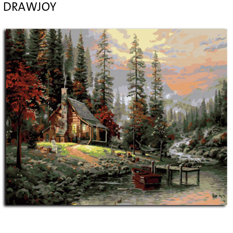Wall Landscape Oil Painting By Numbers Home Decoracion Pictures Canvas Oil Painting Coloring By Number GX8499 40*50cm
