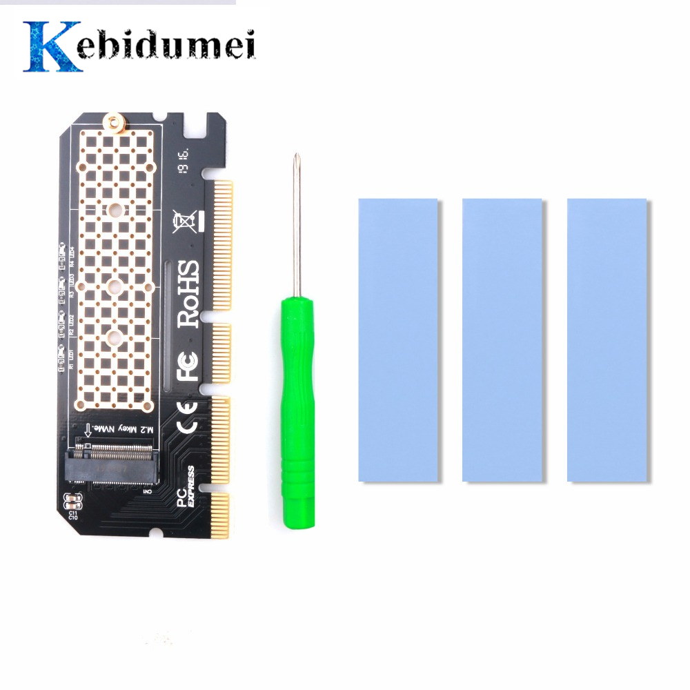 Kebidumei PCIE To M2/M.2 Led Expansion Card Computer Adapter For Adapter/M.2 SSD PCIE Adapter M.2 NVME/M2 PCIE Aluminium Alloy