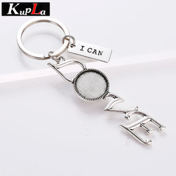 Vintage Metal Letter Love Key Chains 18mm Round Cabochon Settings