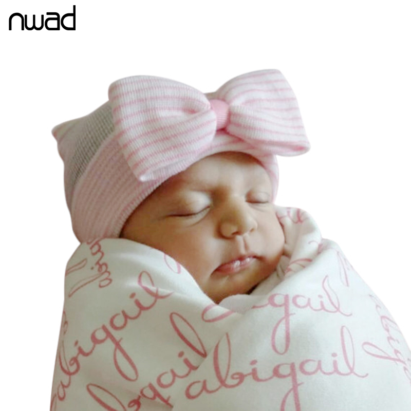 Cute Knitted Baby Girls Warm Hat Fashion Bow Striped ...