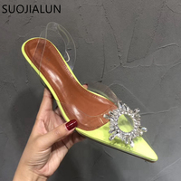 SUOJIALUN 2019 New Brand Women Sandal Fashion Sun Flower Crystal PVC Transparent Women Mules Slides Low Heel Elegant Sandal