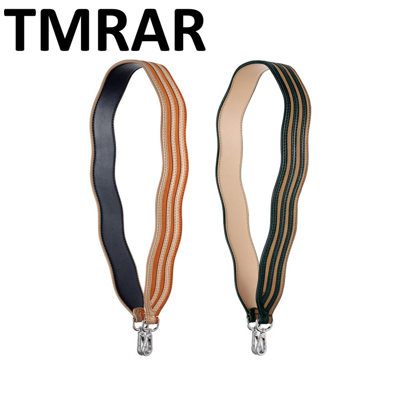 New 2019 Genuine Leather stripped ripple handbag belt trendy design bags strap bag parts bag accessory easy matching qn127