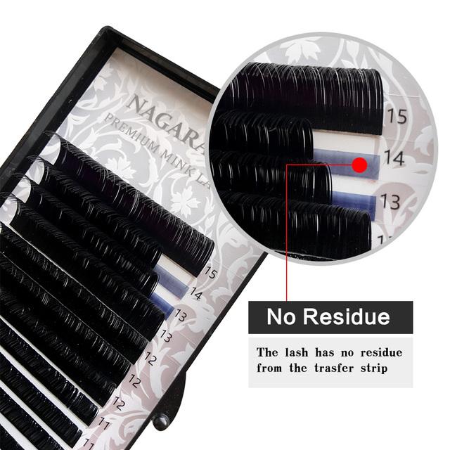 NAGARAKU 16rows/case 7~15mm mix premium natural synthetic mink individual eyelash extension makeup maquiagem cilios