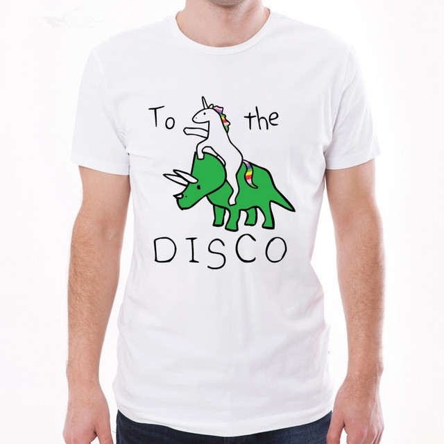 Lasting Charm New Arrivals To The Disco Men T-Shirt Unicorn Riding Triceratop Printed T Shirt Short Sleeve O-Neck Tops Funny Tee