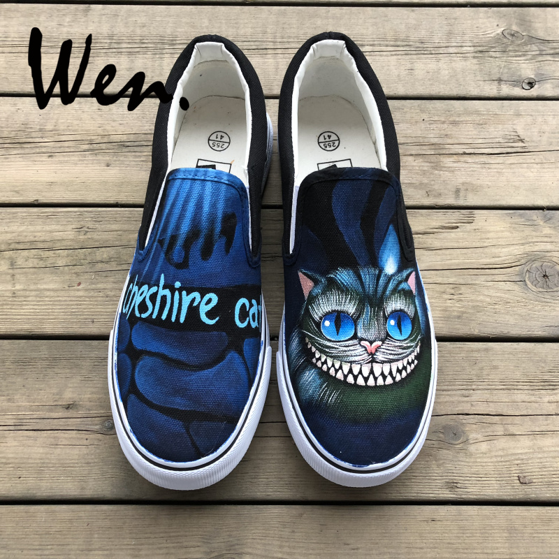 Wen Design Cheshire Cat Hand Painted Canvas Sneakers Custom Slip On Men Women Skateboard Athletic Low Flat Lace up PlimsollsWen Design Cheshire Cat Hand Painted Canvas Sneakers Custom Slip On Men Women Skateboard Athletic Low Flat Lace up Plimsolls