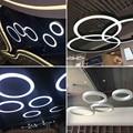 1 шт./партия, офисное кольцо, круглый светодиодный подвесной светильник, черный/белый, оригинальное инженерное кольцо, подвесная проволочна...