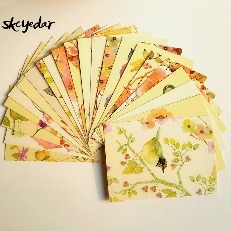 22 Pcs Lovely/Kawaii Watercolor Painting  Postcards   Flowers And Birds Postcards