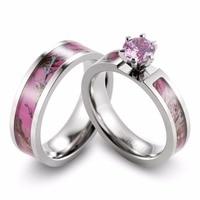 SHARDON Women Camo Titanium ring Prong Setting Pink CZ Pink Camo Wedding Band Engagement ring for Women-2pcs