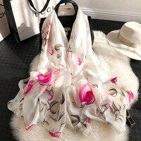 Роскошный шарф для Для женщин плед летние модные шелковые шарфы Для женщин длинные шарфы платки шарфы с росписью для дамы хиджаб 2019