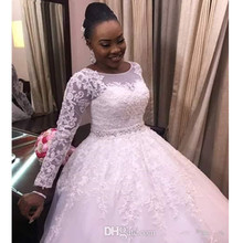 Plus Size New Style Princess Long Sleeve Scoop Ball Gown Wedding Dresses Appliques Beaded Sash Bridal Custom Made See Through