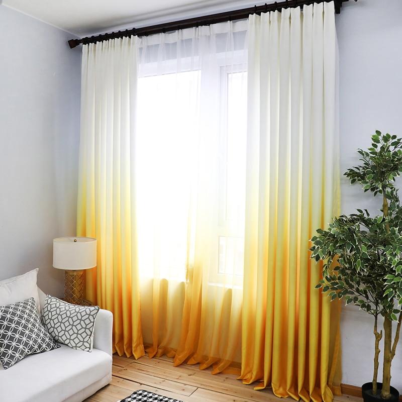 Orange Yellow Gradient Sheer Curtain Fabics Decorative