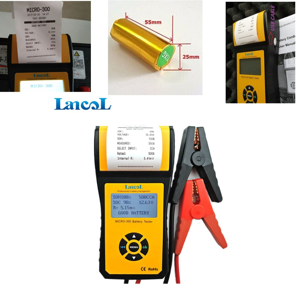 Lancol Diagnostic Tool Auto 12V CCA Car Battery Tester Analyzer MICRO-300 Battery Tester Printer Multi-language for AGM GEL digital car battery load tester with printer micro 300 2000cca 200ah 12v car diagnostic tool battery capacity checker