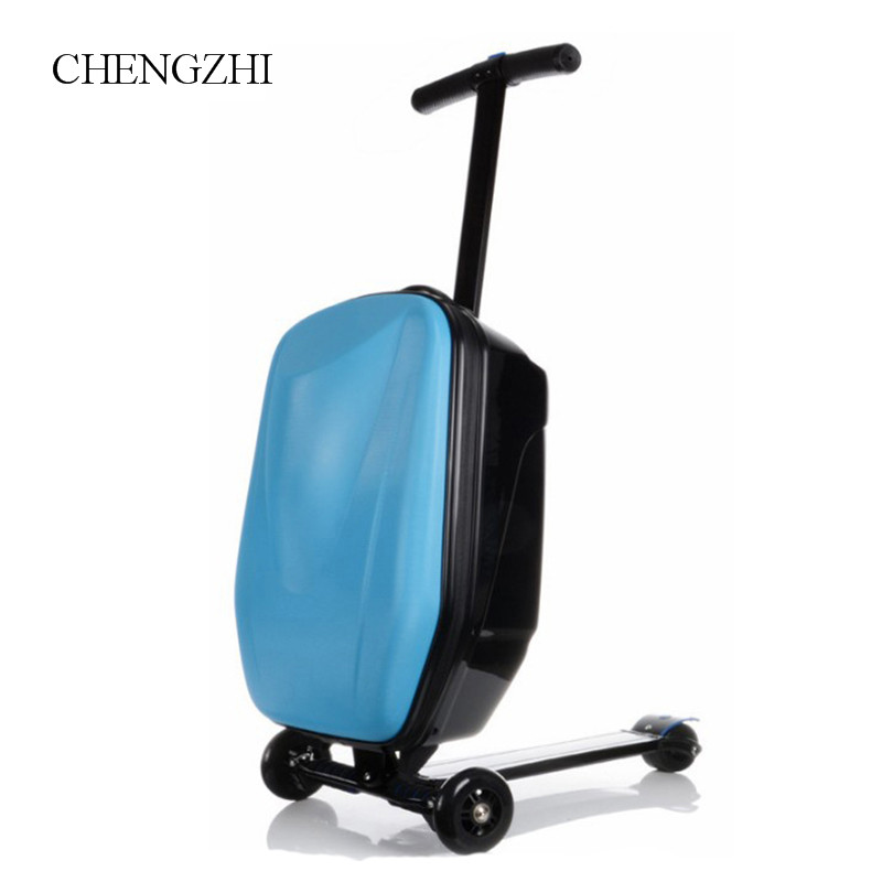 CHENGZHI skateboard teenager carry on trolley luggage scooter cabin travel suitcase on wheels